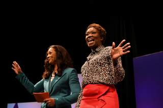 Aimee Allison (L), founder and president of the She the People organization, kicks off the She the People Presidential Forum with political analyst Joy Reid in Houston, Texas, U.S. April 24, 2019. REUTERS/Loren Elliott