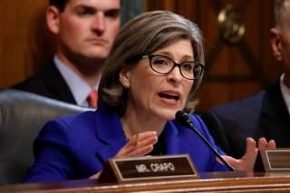 U.S. Senator Joni Ernst (R-IA) asks a question as U.S. Attorney General William Barr testifies before a Senate Judiciary Committee hearing entitled