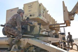 Specialist Tevin Howe and Specialist Eduardo Martinez take part in training on a U.S. Army Patriot surface-to-air missile launcher at Al Dhafra Air Base, United Arab Emirates, January 12, 2019. Picture taken January 12, 2019.