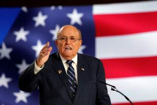 Rudy Giuliani, former Mayor of New York City, speaks at an event in Ashraf-3 camp, which is a base for the People's Mojahedin Organization of Iran (MEK) in Manza, Albania, July 13, 2019.REUTERS/Florion Goga