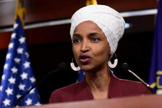 U.S. Rep Ilhan Omar (D-MN) speaks at a news conference after Democrats in the U.S. Congress moved to formally condemn President Donald Trump's attacks on the four minority congresswomen on Capitol Hill.
