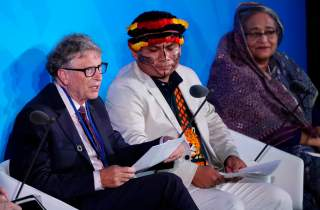 Bill Gates, Trustee and Co-Chair of the Global Commission on Adaptation, speaks as Bangladesh's Prime Minister Sheikh Hasina and Amazon-based indigenous leader Tuntiak Katan look on during the 2019 United Nations Climate Action Summit at U.N. headquarters