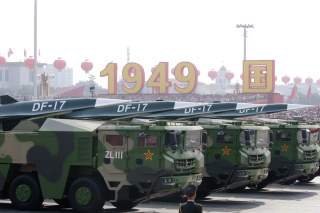 Military vehicles carrying hypersonic missiles DF-17 travel past Tiananmen Square during the military parade marking the 70th founding anniversary of People's Republic of China, on its National Day in Beijing, China October 1, 2019. REUTERS/Jason Lee