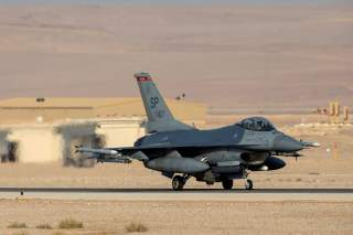 An American F16 aircraft is seen on the runway during