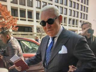 Roger Stone, former campaign adviser to U.S. President Donald Trump, departs after he was found guilty on seven criminal counts in his trial on charges of lying to Congress, obstructing justice and witness tampering in this stilll image taken from video