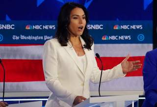 Democratic presidential candidate Rep. Tulsi Gabbard speaks during the fifth 2020 campaign debate at the Tyler Perry Studios in Atlanta, Georgia, U.S., November 20, 2019. REUTERS/Brendan McDermid