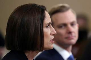 Fiona Hill, former senior director for Europe and Russia on the National Security Council, testifies before a House Intelligence Committee hearing alongside David Holmes, political counselor at the U.S Embassy in Kiev, as part of the impeachment inquiry