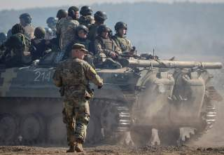 A military instructor of the U.S. Army is seen during multinational drills