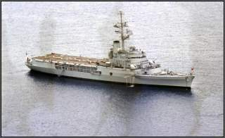 The French cruiser 'Jeanne d'Arc' R97 visit / anchored at St Helena Island. Peter Neaum.