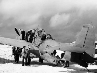 Picture of the only survivor of six Torpedo Squadron Eight (VT-8) Grumman TBF