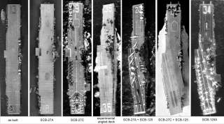 By U.S. Navy - File:Overhead view of USS Franklin (CV-13) at Norfolk 1944.jpg; File:Aerial view of USS Wasp (CV-18) c1951.jpg; File:USS Hancock (CVA-19) aerial photo c1955.jpg; File:USS Antietam (CVA-36) overhead view 1950s.JPG; File:Overhead view of USS