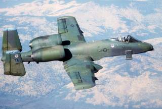 An A-10 Thunderbolt II aircraft from the 343rd Tactical Fighter Wing prepares to drop Mark 82 bombs during combined Army-Air Force live fire exercises (CALFEX IV) at the Yukon Command Training Site.