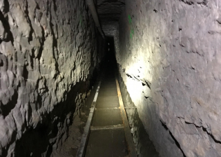 The rail system in the tunnel