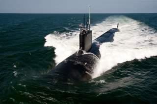 The Virginia-class attack submarine USS California (SSN 781) underway during sea trials.