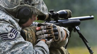 Air Force Staff Sgt. Ryan Link trains with the M24 Sniper Weapon System on Joint Base Elmendorf-Richardson, Alaska, July 11, 2014. U.S. Air Force photo by Justin Connaher