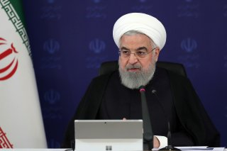 Iranian President Hassan Rouhani speaks during a meeting, as the spread of coronavirus disease (COVID-19) continues, in Tehran, Iran, April 5, 2020. Official Presidential website/Handout via REUTERS