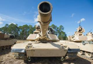 An M1A2SEP Abrams tank from Company D, 1st Battalion, 64th Armor Regiment