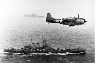 US Navy Douglas SBD Dauntless flying patrol in World War II. Photo by US Navy.