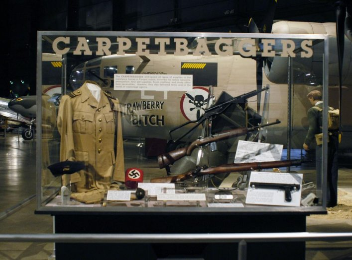 Operation CARPETBAGGER exhibit in the World War II Gallery at the National Museum of the U.S. Air Force. The CARPETBAGGERS dropped all types of supplies to the resistance forces in Europe: radios, batteries for radios, weapons, ammunition, first aid suppl