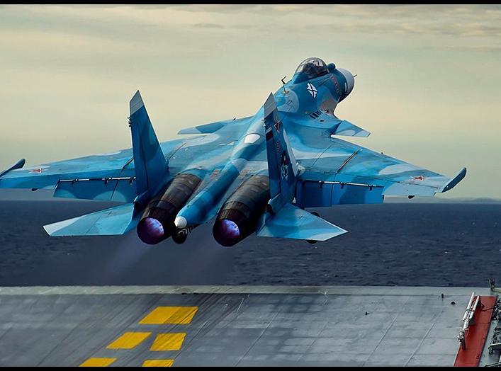 Sukhoi Su-33 launching from the Admiral Kuznetsov. Wikimedia Commons