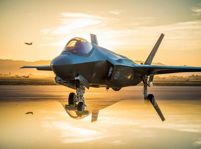 The sun sets behind an Australian F-35A Lighting II at Luke Air Force Base, Ariz., June 27, 2018. The first Australian F-35 arrived at Luke in December, 2014. Currently six Australian F-35's are assigned to the 61st Fighter Squadron where their pilots tra