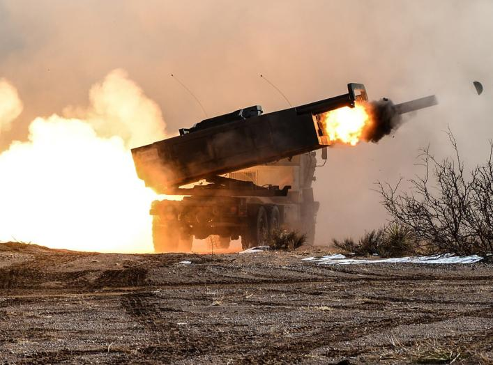 A High Mobility Artillery Rocket System (HIMARS) launcher with Battery B, 1st Battalion, 121st Field Artillery, takes part in a training fire mission in Texas in 2013 before its Afghanistan deployment.