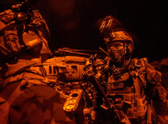 PACIFIC OCEAN (Sept. 28, 2014) Maritime special operations forces prepare for a mission during a training exercise aboard the Nimitz-class aircraft carrier USS George Washington (CVN 73). National Museum of the U.S. Navy. 28 September 2014.