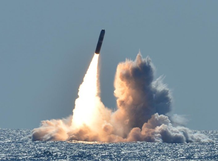 An unarmed Trident II D5 missile launches from the Ohio-class ballistic missile submarine USS Nebraska (SSBN 739) off the coast of California. March 26, 2008. (U.S. Navy photo by Mass Communication Specialist 1st Class Ronald Gutridge/Released)