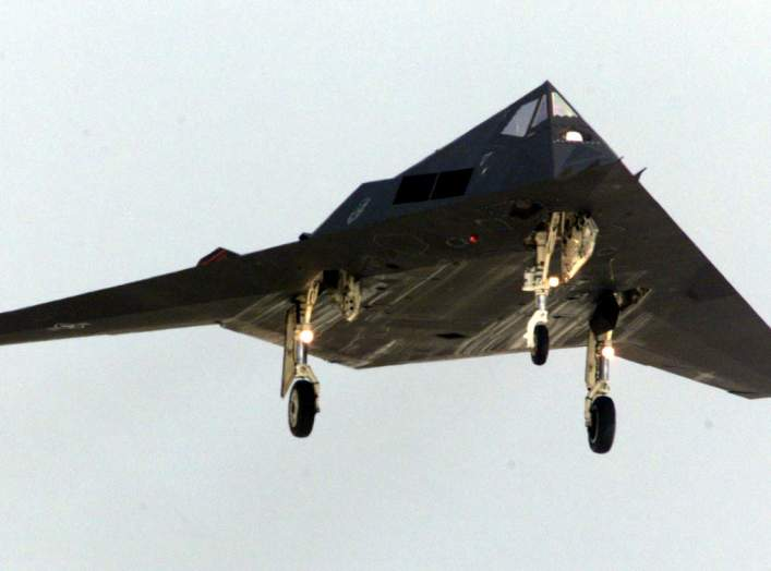 An F-117 Stealth fighter lands at Spangdahlem air base, south-west of Bonn, April 4. Twelve F-117s arrived today from the U.S. to be used in NATO airstrikes against Yugoslavia. AKW