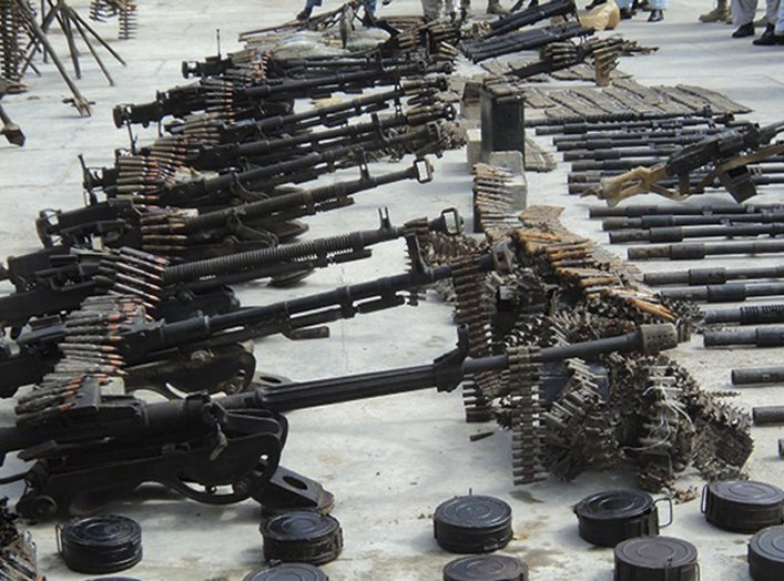 A weapons cache, discovered following a two-day operation by the Afghan National Directorate of Security, is seen on display for the media in Kandahar City March 1, 2011.