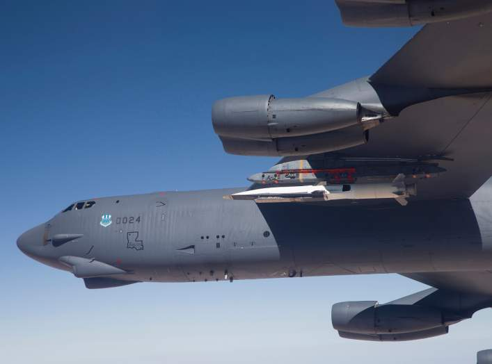 A U.S. Air Force B-52 carries the X-51 Hypersonic Vehicle out to the range for a launch test from Edwards AFB, California in this handout photo provided by the U.S. Air Force on May 1, 2013. REUTERS/Bobbi Zapka/USAF/Handout via Reuters