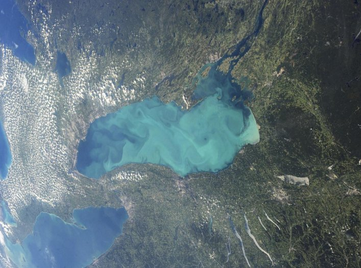 Late summer plankton blooms across much of Lake Ontario, one of North America's Great Lakes, in this photograph taken by an astronaut on the International Space Station courtesy of NASA. REUTERS/NASA/Handout