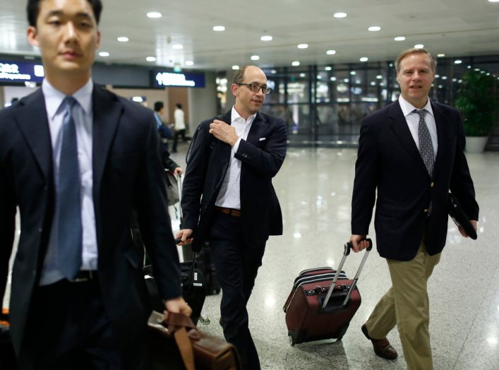 Twitter CEO Dick Costolo arrives at Shanghai's Pudong Airport March 17, 2014. Costolo will meet Shanghai government officials, academics and students in his first visit to China, signaling Twitter's interest in cracking a lucrative but thorny market with