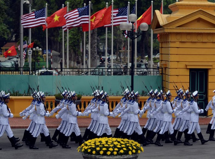 Vietnamese Navy honour guard march to take position prior to the arrival of U.S. President Barack Obama for a welcoming ceremony at the Presidential Palace in Hanoi, Vietnam May 23, 2016. REUTERS/Hoang Dinh Nam/Pool