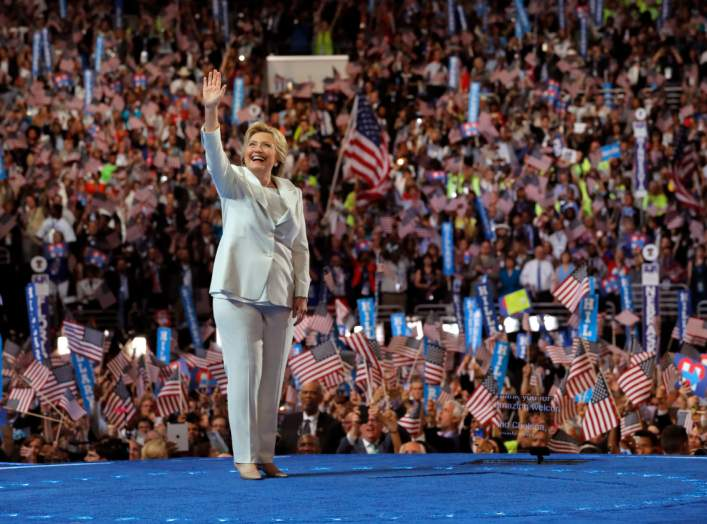 Democratic U.S. presidential nominee Hillary Clinton waves as she arrives to accept the nomination on the fourth and final night at the Democratic National Convention in Philadelphia, Pennsylvania, U.S. July 28, 2016. REUTERS/Brian Snyder/File Photo