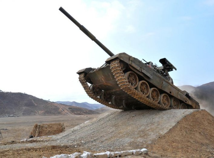 A tank is seen during the Korean People's Army Tank Crews' Competition 2017 in this undated photo released by North Korea's Korean Central News Agency (KCNA) in Pyongyang on April 1, 2017. KCNA/via REUTERS.