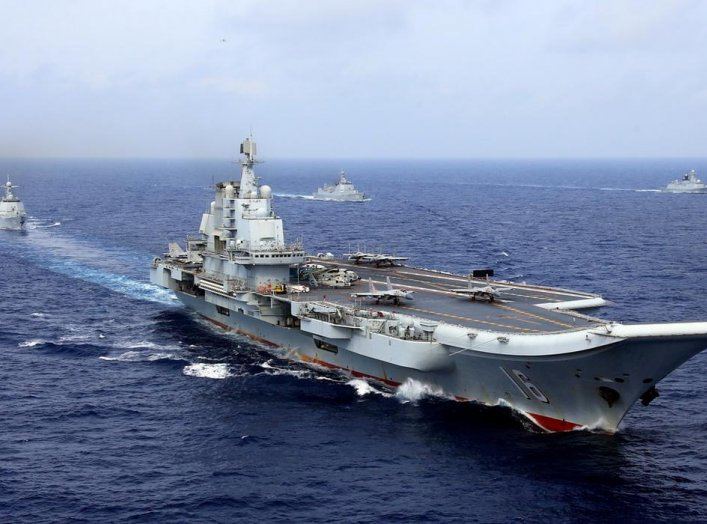 China's aircraft carrier Liaoning takes part in a military drill of Chinese People's Liberation Army (PLA) Navy in the western Pacific Ocean, April 18, 2018. Picture taken April 18, 2018. REUTERS/Stringer
