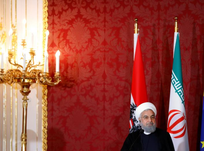 Iranian President Hassan Rouhani attends a news conference in Vienna, Austria, July 4, 2018. REUTERS/Leonhard Foeger