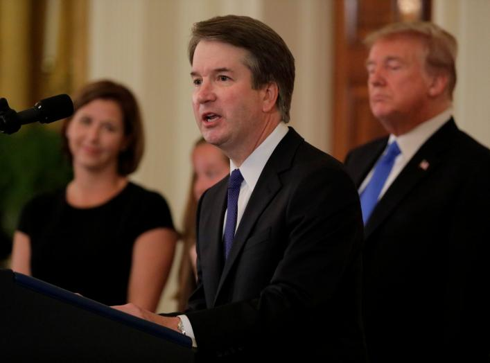 Supreme Court nominee Judge Brett Kavanaugh speaks in the East Room of the White House in Washington, U.S., July 9, 2018. REUTERS/Jim Bourg