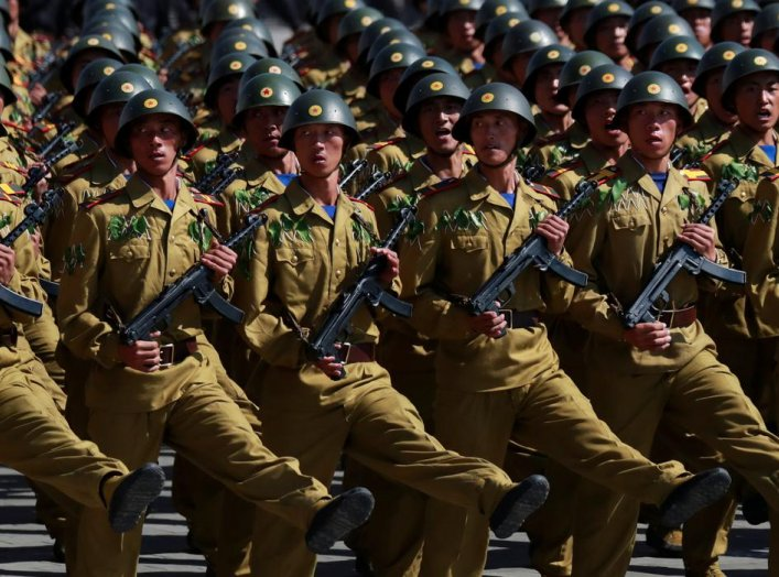 Soldiers march during a military parade marking the 70th anniversary of North Korea's foundation in Pyongyang, North Korea, September 9, 2018. REUTERS/Danish Siddiqui
