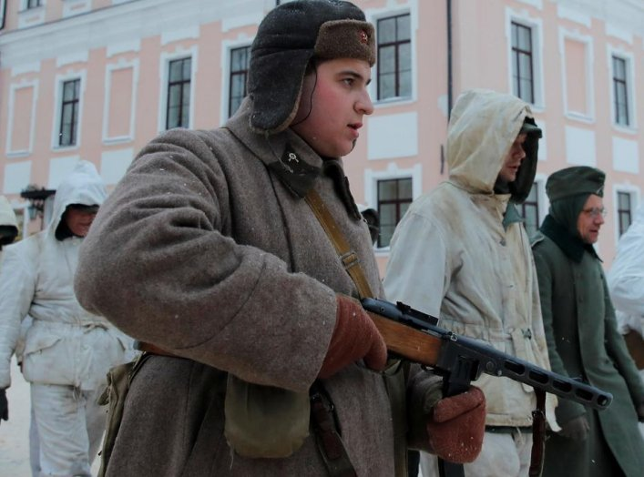 Enthusiasts dressed in historicalWorldWarIIuniforms and depicting prisoners ofwar, participate in historical reconstruction, to mark the 75th anniversary of the liberation of Veliky Novgorod from Nazi occupation in Veliky Novgorod,RussiaJanuary 20,