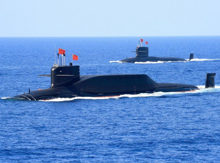 A nuclear-powered Type 094A Jin-class ballistic missile submarine of the Chinese People's Liberation Army (PLA) Navy is seen during a military display in the South China Sea April 12, 2018. Picture taken April 12, 2018. Reuters/Stringer.