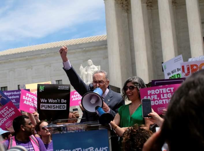 U.S. Senate Minority Leader Chuck Schumer (D-NY) speaks at a protest against anti-abortion legislation at the U.S. Supreme Court in Washington, U.S., May 21, 2019. REUTERS/James Lawler Duggan