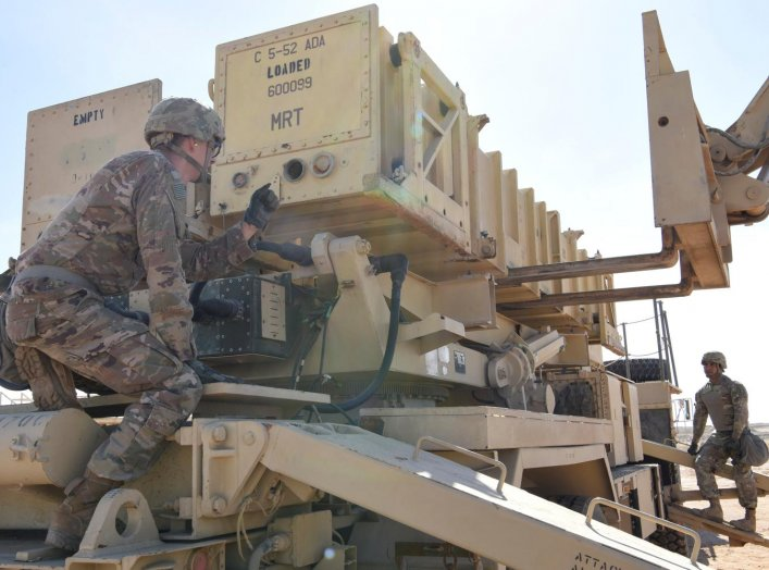 Specialist Tevin Howe and Specialist Eduardo Martinez take part in training on a U.S. Army Patriot surface-to-air missile launcher at Al Dhafra Air Base, United Arab Emirates, January 12, 2019. Picture taken January 12, 2019. U.S. Air Force/Tech. Sgt. Dar