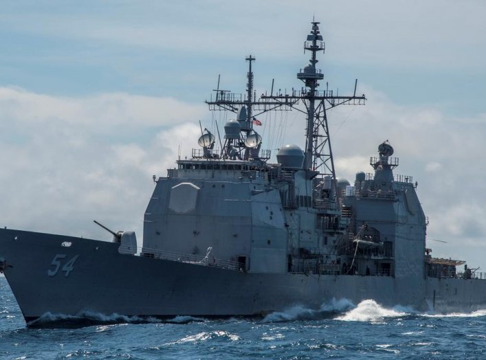 The guided-missile cruiser USS Antietam (CG 54) is shown in the South China Sea, March 6, 2016. Photo taken March 6, 2016. Mass Communication Specialist 2nd Class Marcus L. Stanley/U.S. Navy/Handout via REUTERS