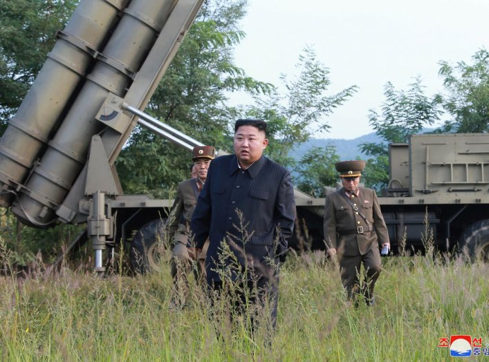 North Korean leader Kim Jong Un attends the testing of a super-large multiple rocket launcher in North Korea, in this undated photo released on September 10, 2019 by North Korea's Korean Central News Agency (KCNA). KCNA via REUTER
