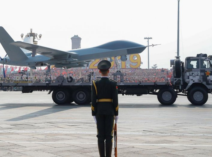 A military vehicle carrying an unmanned aerial vehicle (UVA) travels past Tiananmen Square during the military parade marking the 70th founding anniversary of People's Republic ofChina, on its National Day in Beijing,ChinaOctober 1, 2019. REUTERS/Thomas