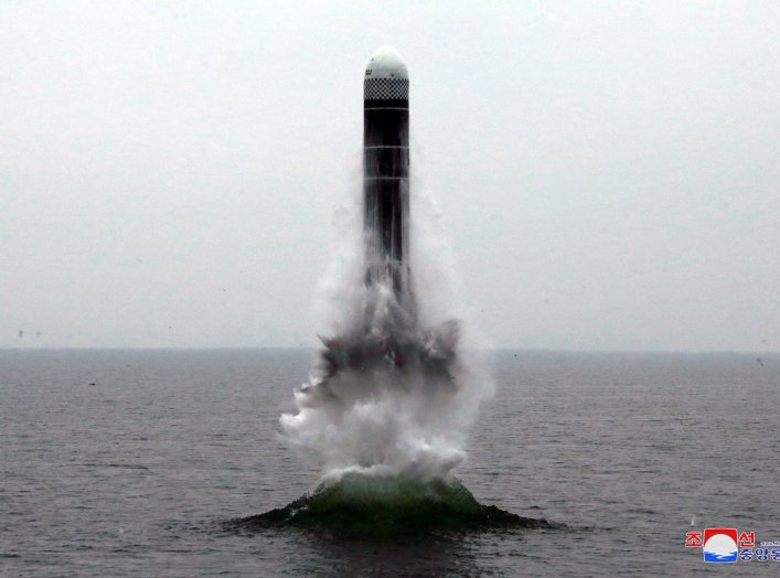 What appears to be a submarine-launched ballistic missile (SLBM) flies in an undisclosed location in this undated picture released by North Korea's Central News Agency (KCNA) on October 2, 2019. KCNA via REUTERS