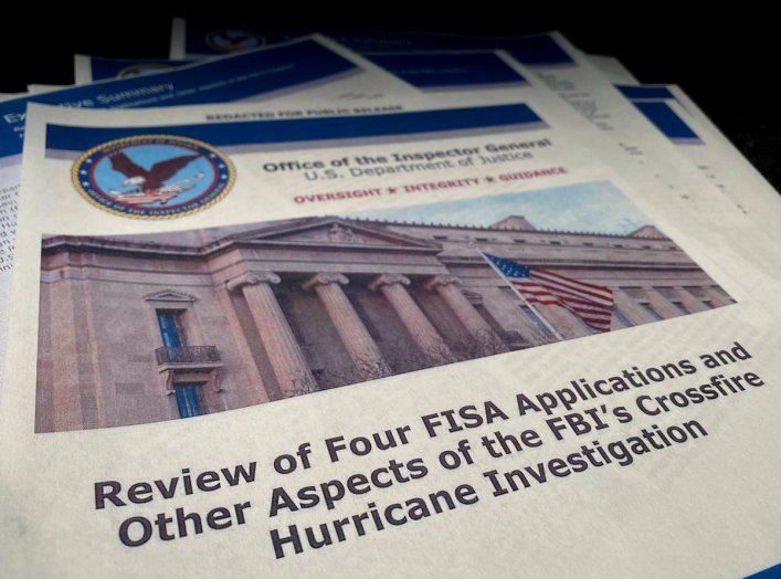 "The U.S. Justice Department's Inspector General Michael Horowitz's report entitled ""Review of Four FISA Applications and Other Aspects of the FBI's Crossfire Hurricane Investigation"" about the origins of the FBI's investigation into contacts between Donal"