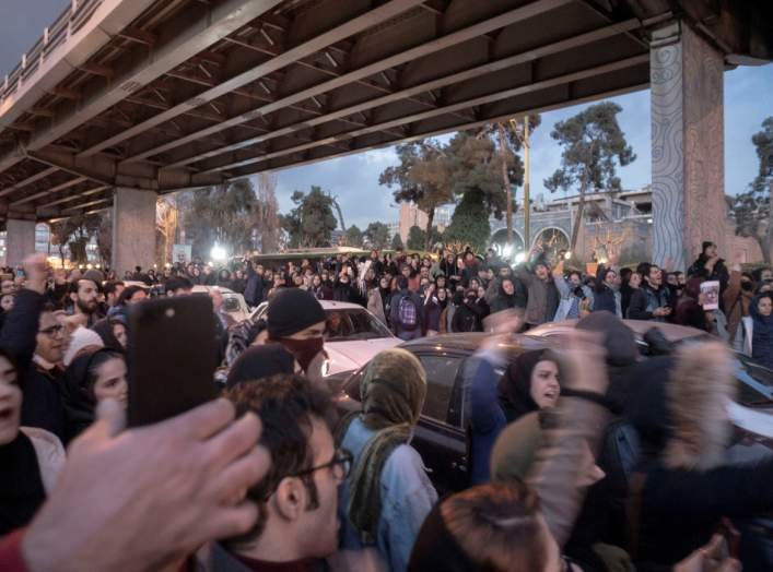 Protesters demonstrate in Tehran, Iran January 11, 2020 in this picture obtained from social media by Reuters via REUTERS